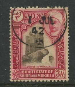 STAMP STATION PERTH Shihr & Mukalla #7  Definitive Issue 1942 Used  CV$1.00