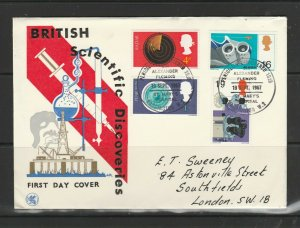 GB FDC 1967 Discoveries, Illus, Alexander Fleming  special cancel, Neat hand add