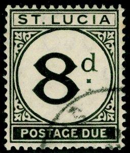 ST. LUCIA SGD6, 8d black, FINE USED. Cat £65.