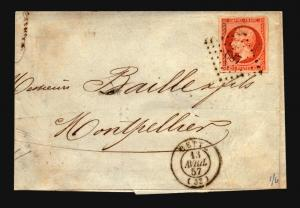 France 1857 Cover / 40c / Crease Through Stamp - Z15702