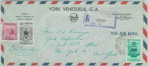84322 -  VENEZUELA - POSTAL HISTORY - REGISTERED COVER to USA 1955 - ORCHIDS