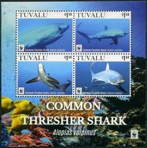Tuvalu 2016 sharks marine life fauna  WWF collective s/s MNH