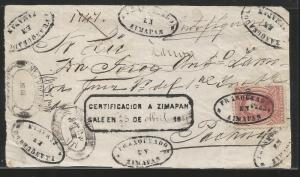 J) 1874 MEXICO, 100 CENTS CARMINE, FRONT OF LETTER, TULA, CONS 7-80 NUMERALS, CL