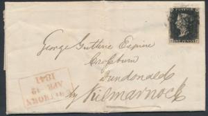 GB #1 PLATE 6 ON COVER TIED BY BLACK MALTESE, 12 APRIL 1841; VF CV $675+ BN9805