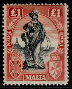 MALTA GV SG139, £1 black & carmine red, LH MINT. Cat £150.
