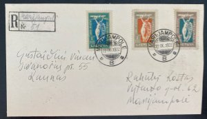 1922 Marijampole Lithuania Early Airmail Registered cover To Kaunas Sc#C12-C14