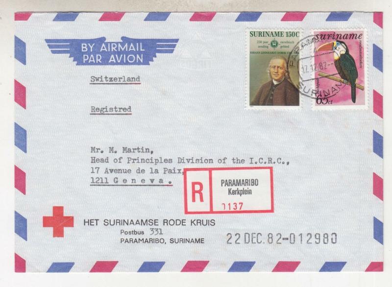 SURINAME, 1982 Registered cover to Red Cross, Geneva, Switzerland.