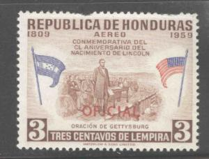 Honduras  Scott Co100 MH* Official airmail stamp short perf at top
