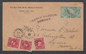 India Sc 81 pair on 1914 Censored Postage Due cover to USA, J46a x 3