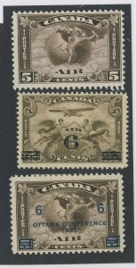 3x Canada MH Airmail Stamps  #C2-5c C3-6c/5c & #C4-6c/5c F/VF Guide Value=$65.00