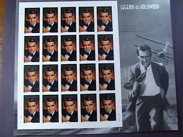 U.S.# 3692-MINT/NH--PANE OF 20-LEGENDS OF HOLLYWOOD--CARY GRANT --2002