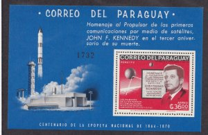Paraguay # 1001a, John F. Kennedy, Space perf sheet, NH, 1/2 Cat.