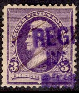 US Stamp #221 USED SCV $9.00. Color Cancel.