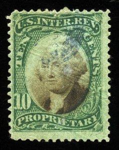 B264 U.S. Revenue Scott RB7b 10-cent Proprietary, green paper, SCV = $65