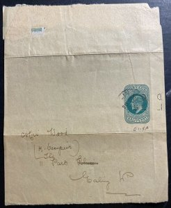 1900s England Perfin Postal Stationery Wrapper cover