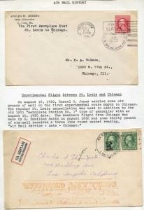 (2) EXPERIMENTAL FLIGHT AIRMAIL COVERS BETWEEN ST. LOUIS & CHICAGO 1920 BU16