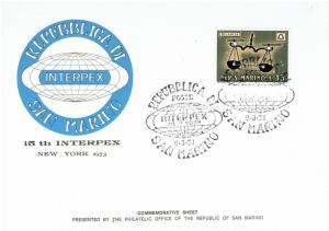 REPUBLIC of SAN MARINO -,#722, 15th INTERPEX, NYC, 1973 -  ZODIAC, MNH