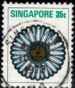 Stylized Flower, Chrysanthemum, Singapore stamp SC#195 used