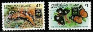 CHRISTMAS ISLAND SG283/4 1989 MELBOURNE STAMP SHOW FINE USED