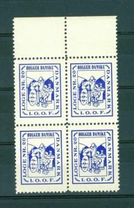 Denmark. 4-Block. Poster Stamp IOOF Odd Fellow.Esbjerg Lodge # 20,Holger Danske.