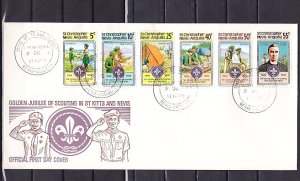 St. Kitts-Nevis, Scott cat. 370-375. Scouting Anniversary. First day cover. ^