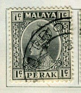 MALAYA PERAK; 1935 early Sultan issue fine used 1c. value