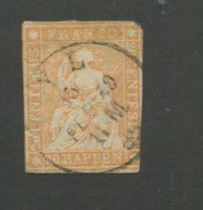 1858 Switzerland Helvetia Postage Stamp #39 Used Imperf CAT. Value $77 ~ S8309
