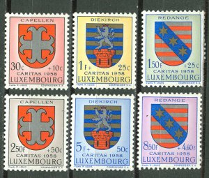 Luxembourg # B204-09 Coats of Arms  1958   (6)   VF Unused VLH