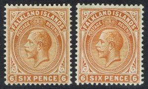 FALKLAND ISLANDS 1912 KGV 6D BOTH SHADES WMK MULTI CROWN CA