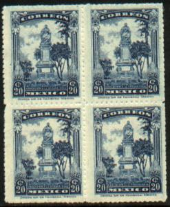 MEXICO 656, 20c Monument. Block of four. Mint, NH (156)