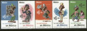 MEXICO 2450, MEMIN PINGUIN STRIP OF FIVE. MINT, NH. F-VF.