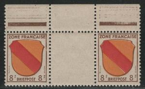 Germany - under French occupation - Scott # 4N4, mint nh, gutter pair
