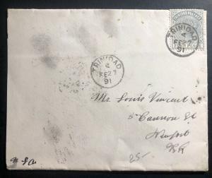 1891 Trinidad & Tobago Vintage Cover To Newport Ri USA Via New York