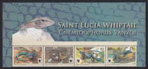 St. Lucia WWF Whiptail Top Strip of 4v with WWF Logo SG#1370-1373 MI#1275-1278