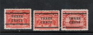 Newfoundland #128 #129 #130 Very Fine Mint Original Gum Hinged Set