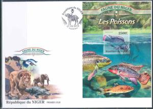 NIGER 2013 FAUNA OF AFRICA  FISH  SOUVENIR SHEET FIRST DAY COVER