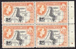1953 Nyasaland QE 2p booklet pane Map & Coat of Arms MNH Sc# 100a CV $4.25