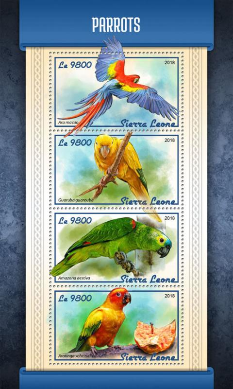 Sierra Leone 2018 MNH Parrots Scarlet Macaw 4v M/S Macaws Amazons Birds Stamps
