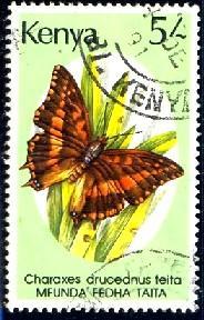 Butterfly, Charaxes Druceanus Teita, Kenya stamp SC#436 used