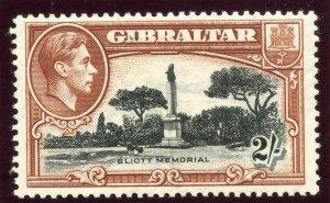 Gibraltar 1938 KGVI 2s black & brown (p13½) MLH. SG 128a. Sc 115b.