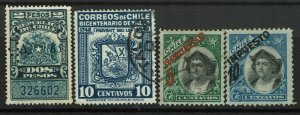 Chile 4 Used Revenue Stamps, left most punch cancel, right two lg pg rems