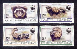 Kazakhstan Sc# 171-4 MNH WWF / Marbled Polecat
