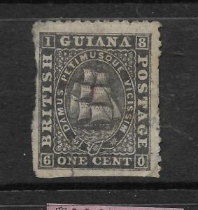 BRITISH GUIANA  1862-76  1c SHIP MH P12 SPACEFILLER SG 42