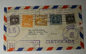 El Salvador Registered Cover Airmail Signed AR USA 1937 Sc# S64 S65 S63 C46