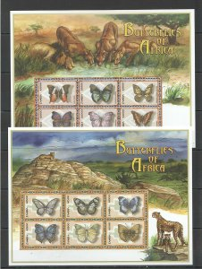 PK306 ZAMBIA FAUNA BUTTERFLIES INSECTS OF AFRICA WILD CATS LIONS 2KB MNH STAMPS
