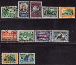 $Liberia Sc#33-49 used, partial set, Cv. $36.80 cto