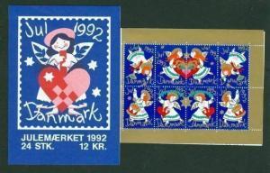 Denmark.  Booklet  1992  Christmas Seals  Mnh.  Angels