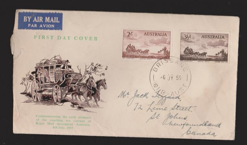 AUSTRALIA Scott # 281-2 On FDC Unknown Thermal Cachet Mailed To Newfoundland