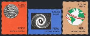 Peru C206-C208,MNH.Michel 678-680. Sun Symbol,Ancient Carving,Map,1967