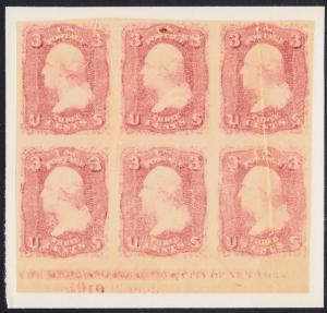 #79-E65P5a LOWENBERG DECALCOMANIA PATENT PLATE PROOF BLOCK OF 6 HV6671